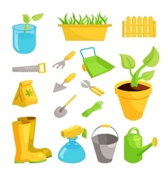 Garden icons set cartoon style vector image