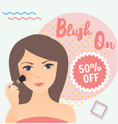 Girl wearing using blush on in her face sale vector