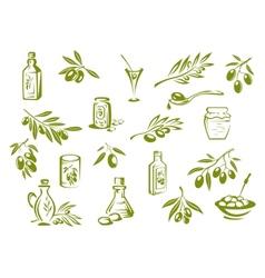 Green fresh pickled olives and olive oil symbols vector