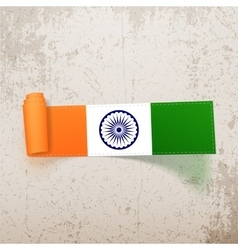 India flag on realistic scroll tag vector