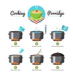 Instructions for cooking porridge vector