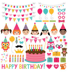 Kids birthday party set vector