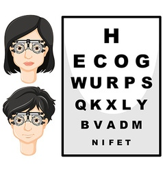 Man and woman with test glasses vector image vector image