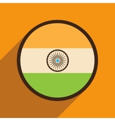 Modern flat icon with long shadow flag of india vector