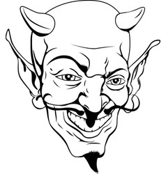 Monochrome devil face vector