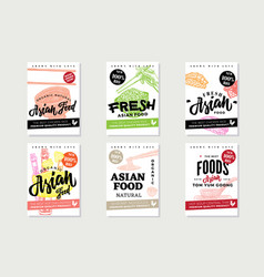 National asian food sketch posters vector