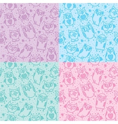 owl seamless patterns vector image vector image