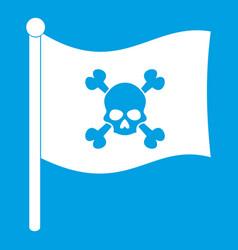 Pirate flag icon white vector