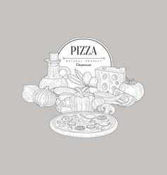 Pizza ingredients vintage sketch vector