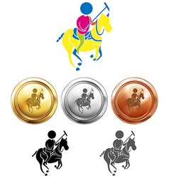 Polo icon and sport medals vector image vector image