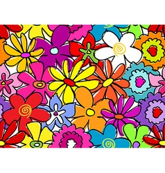 Seamless busy flower pattern vector image vector image