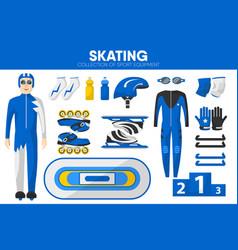 skating sport equipment skater racer clothing vector image