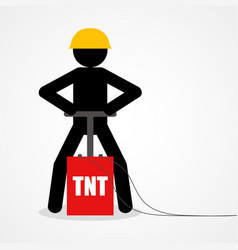 stick figure detonating a tnt vector image