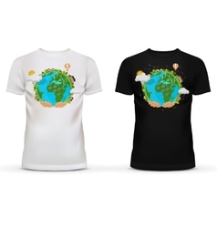T-shirt with picture of hands holding earth vector