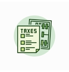 Taxes green icon vector