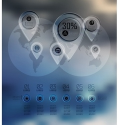 Transparent business Infographics diagram on blur vector image