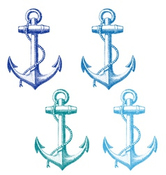 vintage anchor with rope set vector image vector image