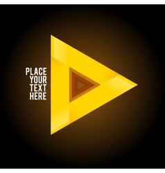 Yellow triangle shape on dark background vector image vector image