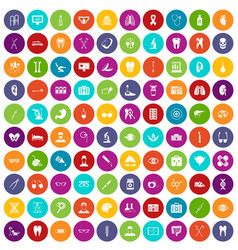 100 medical icons set color vector