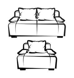 Chair and sofa freehand drawing vector