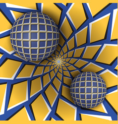 two balls are moving on rotating background vector image