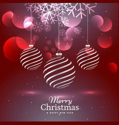 Shiny elegant three christmas balls decoration on vector