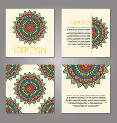 set of cards with decorative elements vector image