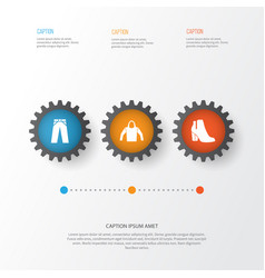 Clothes icons set collection of pants sweatshirt vector