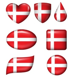 Denmark flag in various shape glossy button vector