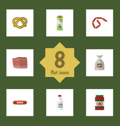 Flat icon meal set of sack packet beverage beef vector