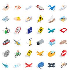 Transportation icons set isometric style vector