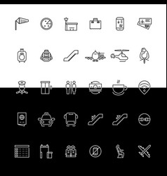 Airport line icons - black and white vector