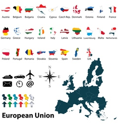 Maps with flags of european union vector