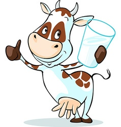 Cute cow hold glass of milk - isolated on white vector