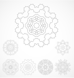 Set of geometric outline rosetta ornamet vector