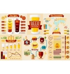 Set of beer infographic elements with icons vector