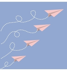 Origami paper plane set  dash line loop in the vector
