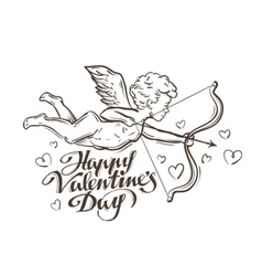 Happy valentines day flying cupid vector