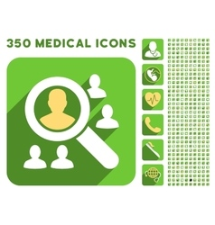Explore patients icon and medical longshadow icon vector