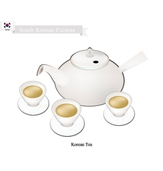 Korean traditional tea set popular dink in south vector