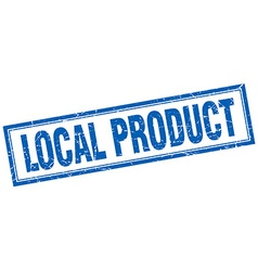 Local product blue square grunge stamp on white vector