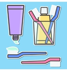 Toothbrush and toothpaste icons vector