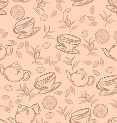 Hand drawn seamless pattern with outlines cup of vector