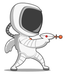 Astronaut with blaster vector