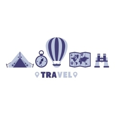 Camping Travel Symbols Set By Five In Line vector image vector image