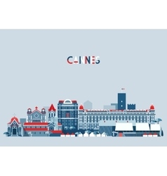 Cannes France City Skyline Background Flat vector image