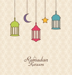 Celebration islamic card with arabic hanging lamps vector