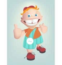 Child shows healthy teeth cartoon vector image vector image