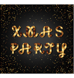christmas party gold sign on black background vector image vector image