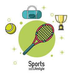 Colorful poster of sports lifestyle with tennis vector